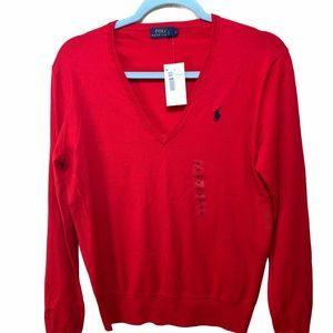 Polo Ralph Lauren Red V-Neck Sweater Med